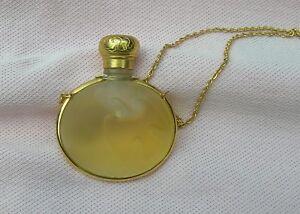 Vintage Gold T Nina Ricci L'AIR DU TEMPS Lalique Glass Perfume Bottle Necklace