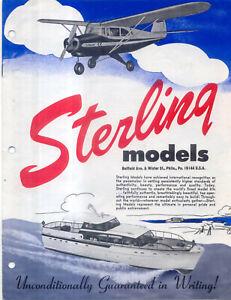 Sterling  Models Aircraft C M R F-S & S Series & Boat B Series original Brochure