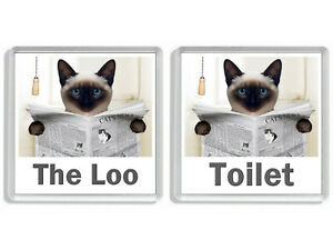 SIAMESE CAT READING A NEWSPAPER ON THE LOO Novelty Toilet Door Signs