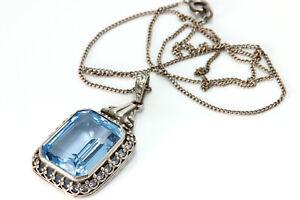 Jugendstil Silber Anhänger Silberkette blau Collier antik Schmuck alte Halskette