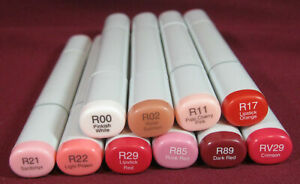 """(10x) Copic Sketch Dual-Tip Markers - Reds, """"R"""" Series, NEW, Broad/Brush, R2"""