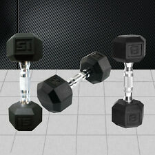 Hex Rubber Coat Iron Dumbell Home Gym Strength Weight Training Commercial Grade