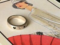 Vintage Heart Diamond Stylish Sterling Silver Ring Size J
