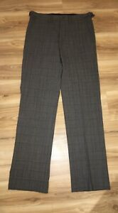 Ben Sherman Mens Grey With Blue Check Pants Size 30 (waist Approx 82cm)