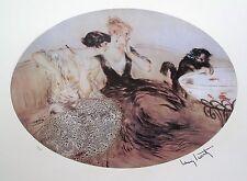 "LOUIS ICART ""KITTEN FISHING"" Facsimile Signed Limited Editon Giclee Art"