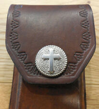 """Decorative Cross snap - case -  Brown  5"""" leather knife sheath - pouch"""