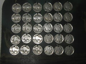 WHOLESALE LOT OF 30 BUFFALO INDIAN HEAD NICKEL USA COIN CHARMS PENDANTS