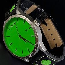 XXL Psychoo Herren Armbanduhr Schwarz Grün Datumsanzeige Elegant Sportlich