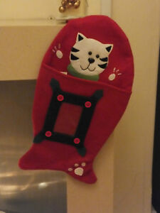 237: CAC-08 FISH SHAPED CHRISTMAS STOCKING FOR YOUR CAT *CLEAR POCKET FOR PHOTO*
