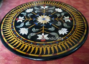 36 Inches Marble Restaurant Table Top with Royal Pattern Dining table Hand Made