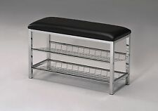 Legacy Decor Metal Two Tier Shoe Rack Bench with Black Bonded Leather Seat