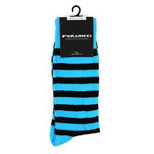 Men's Colorful Sky Blue & Black College Stripe Dress Casual Socks Size 10-13 New