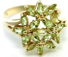 Natural 1.7ct Peridot 9ct 375 Solid Gold Flower Abstract Ring - Bravo Jewellery