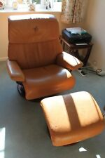 Erkornes Stressless Recliner chair and foot stool - tan leather