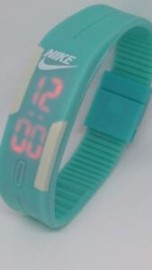 Stock 10 Light blue adjustable Nike LED Digital Watch SILICONE BAND Wristwatches