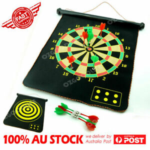 "17"" Magnetic Rollup Dart Board w/ 6 Darts Large Double Side Dartboard Game Best"