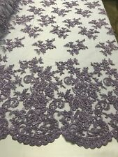 Beaded Fabric - Embroidered Flower Mesh Beads & Sequins Lilac By The Yard