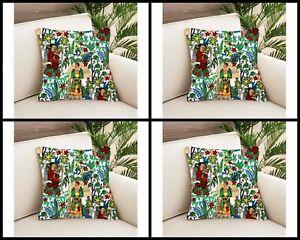 4 Pcs Indian White 24x24 Frida Khalo Cushion Cover Home Decorative Sofa Cover US