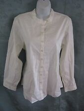 Norm Thompson Ruffle Collar Blouse Size Large Off White