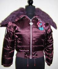 BOBBY JACK MONKEY BURGUNDY PUFFER JACKET FAUX FUR LINED HOOD CHILD 14 EUC !