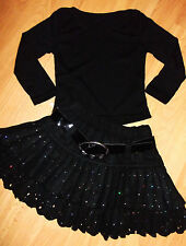 GIRLS BLACK TOP & SILVER SPARKLE PRINT FLARED RUFFLE SKATER PARTY SKIRT age 3-4