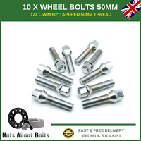 10 X Extra Long Wheel Bolts M12X1.5 50mm For BMW With Spacers Alloy Wheels