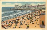 Linen Postcard California I081 The Cyclone Racer and Beach Crowds Long Beach