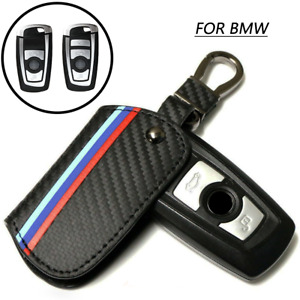 Carbon Leather Remote Start Car Key Case Cover Fob For BMW 1 2 3 4 5 6 7 Series