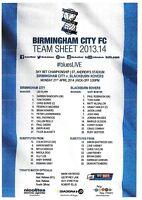 Teamsheet - Birmingham City v Blackburn Rovers 2013/14