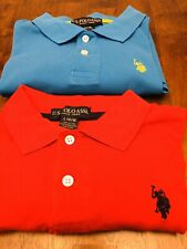 2 Us Polo Assoc Boys Red & Turquoise Short Sleeve Polos (size 14/16 Large)