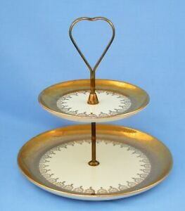 ATLAS CHINA 22 K GOLD USA POTTERY 2 TIERED SANDWICH COOKIE TRAY DISH W/ HANDLE