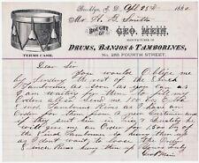 RARE Billhead & Letter George Mein - BANJO Drums Tambourine Brooklyn NY ED 1882