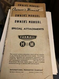 International Harvester FARMALL H &M 4 Booklet Lot of Tractor Manuals Implements