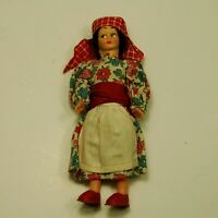 Vintage Italian Peasant Girl Doll  Plastic 6 In. Made In Italy