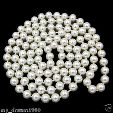 Sea Shell Pearl Beads Necklace Jewelry 54'' Long Natural White 10mm Real South