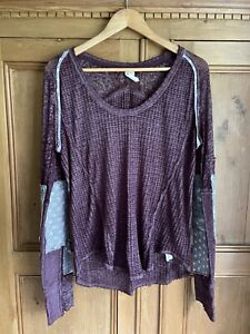 Free People We The Free Thermal Patch Top Mauve Aubergine Purple And Grey Size L