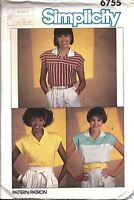 6755 Vintage Simplicity Sewing Pattern Misses Easy to Sew Pullover Top Shirt OOP