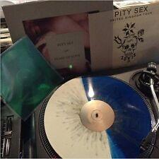 """Pity Sex - Feast of Love - Vinyl LP album (Blue White Splatter) & 7"""" Green Flexi"""