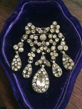 victorian paste silver set pendent /brooch