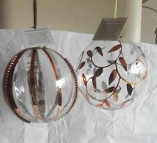 Christmas Tree Baubles Clear Glass Bronze LARGE BAUBLES Tree Decorations 10cm