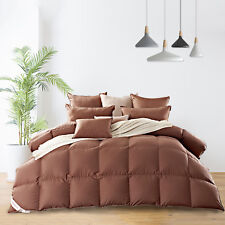 Twin Size Luxury Goose Down Comforter100%Egyptian Cotton Solid Coffee