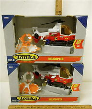 2 Tonka Rescue Helicopters Plastic 2005 Fire Dept Figure Lift Basket Life Ring