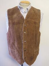 Vintage Genuine Schott NYC Rancher Leather Suede Waistcoat Gilet M 38-40 Euro 50