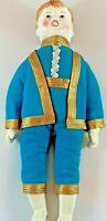 Shackman Porcelain Boy Doll With Blue Vintage Outfit