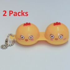 2 Pack Pretty Yellow Birds Contact-Lens Holder Case Great for Traveling w/ Chain