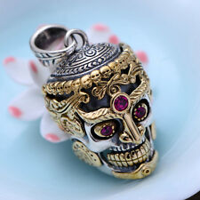925 Sterling Silver POWER SKULL pendant charm jewelry DIY craft accessory P1170