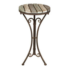 Shabby Chic Wooden Brown Iron Metal Conservatory Hallway Round Side Table