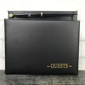 Victoria Lynn Black and Gold Print Wedding / Guest Book with Pen 60 Page NEW