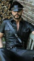 MENS REAL LEATHER Black Police Military Style Shirt BLUF ALL SIZE Shirt