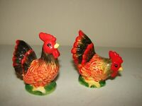 Vintage Ceramic Roosters Salt and Pepper Shakers